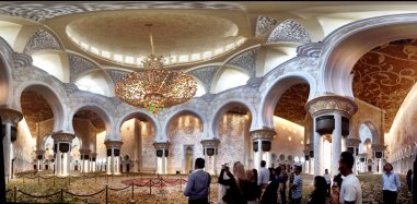 Main prayer hall. One piece of carpet (brought in 9 pieces and took 4 months to complete within the mosque).