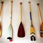 Paddles hanging on the wall.